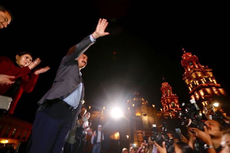 En Morelia, Corral Jurado fue acompañado por el ex dirigente nacional del PAN, Gustavo Madero, así como por liderazgos locales del PAN y Movimiento Ciudadano
