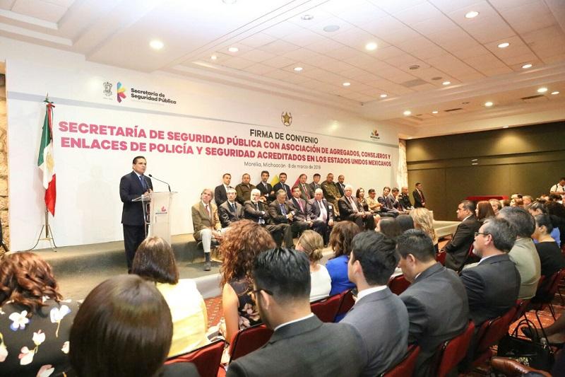 Michoacán es la primera entidad en firmar este tipo de acuerdos para intercambiar experiencias y resolver desafíos en materia de seguridad