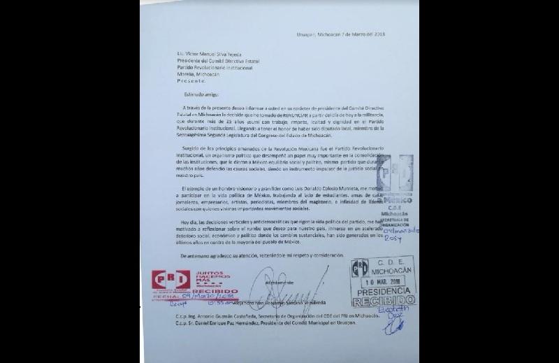 Alejandro Iván Benjamín Sámano Sepúlveda representaba al Distrito de Uruapan Sur en el Congreso del Estado; se suma a otros cuadros que se han retirado del tricolor en los últimos meses
