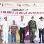 El mandatario anuncia que en esta zona se edificará la Estación Naval - que anteriormente se realizaría en Caleta de Campos, en el municipio de Lázaro Cárdenas-, además se instalará una base del Ejército Mexicano, de la Policía Federal y de la Policía Michoacán