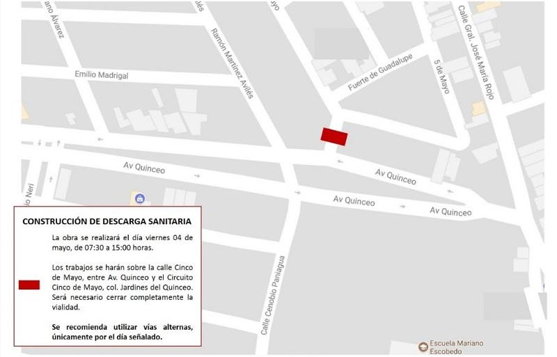 Cabe precisar que los trabajos iniciarán a las 07:30 horas y se prevé que concluyan a las 15:00 horas, únicamente el día señalado, en el tramo que comprende de la Avenida Quinceo al Circuito Cinco de mayo
