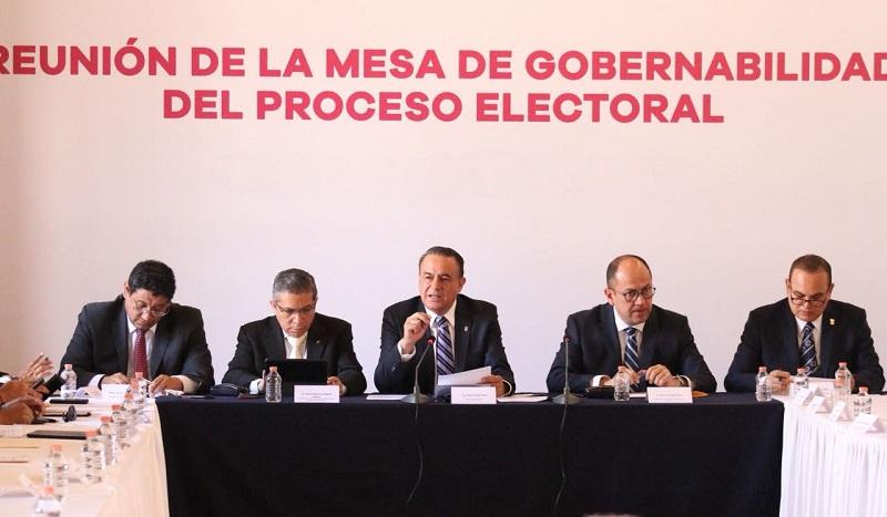 Preside el secretario de Gobierno, Pascual Sigala la séptima sesión de la Mesa de Gobernabilidad para el Seguimiento del Proceso Electoral.