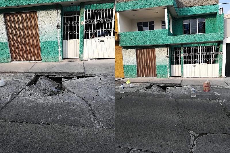 El hundimiento se encuentra en la calle Acachuén, entre Peribán y Tancítaro