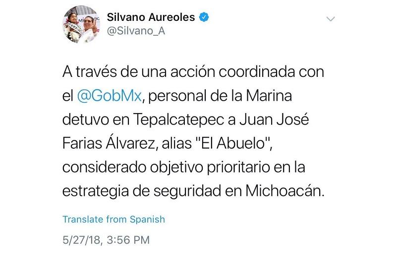 Aureoles Conejo felicitó a la Marina y giró instrucciones a la PGJE y a la SSP para reforzar las acciones operativas y de vigilancia en la región de Tierra Caliente