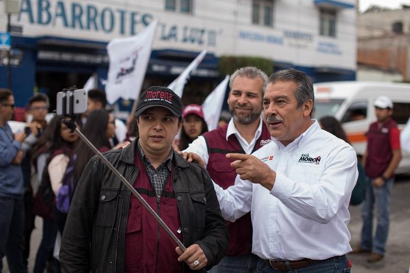 """Raúl Morón señaló que el proyecto que representa la coalición de """"Juntos Haremos Historia"""" está orientado a mejorar las condiciones de vida de las morelianas y los morelianos"""