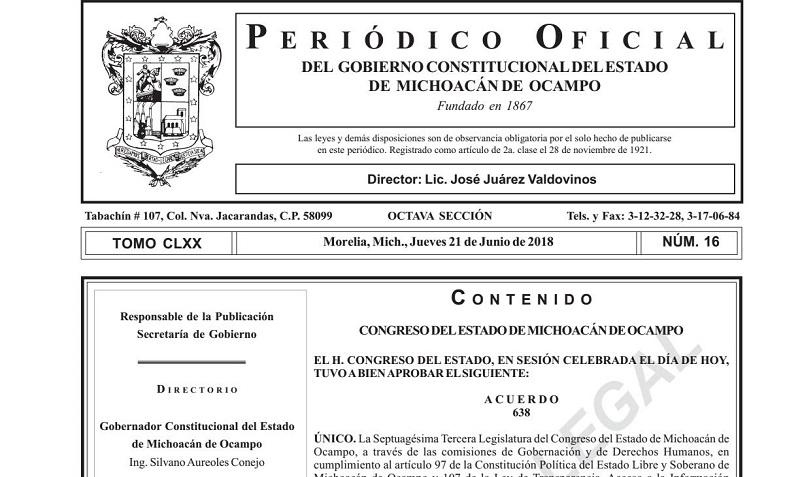 Se especifica como lugar y fecha de recepción de documentación la oficina de la Secretaría de Servicios Parlamentarios del Congreso del Estado, los días 25, 26 y 27 de junio de 2018, en el horario comprendido de 9:00 a 15:00 horas y de 18:00 a 20:00 horas
