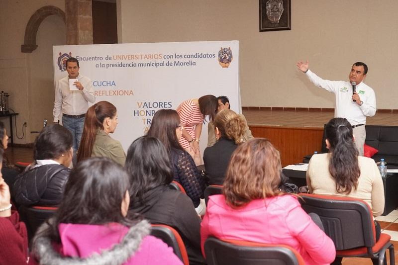 En el gobierno del cambio estarán presentes los expertos de la Universidad Michoacana y de las universidades privadas, porque me interesa que los comités ciudadanos nos ayuden a estructurar un Plan de Desarrollo Urbano para Morelia: Constantino Ortiz