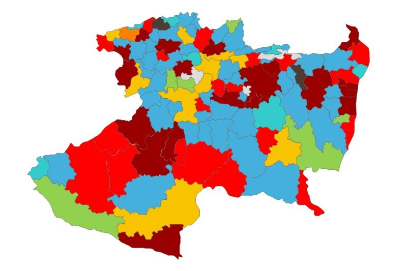 Así, Morena y PT se quedaron con 8 de los 16 municipios con mayor número de población y votantes en Michoacán, mientras que los otros 7 quedaron repartidos entre PRD, PAN, Movimiento Ciudadano y PVEM