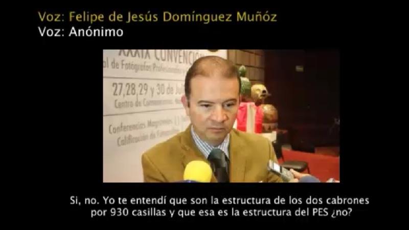 En el video se exhiben audios de llamadas telefónicas que se atribuyen a Felipe de Jesús Domínguez Muñoz, así como a Daniela de los Santos, Conrado Mejía y José Juan Marín