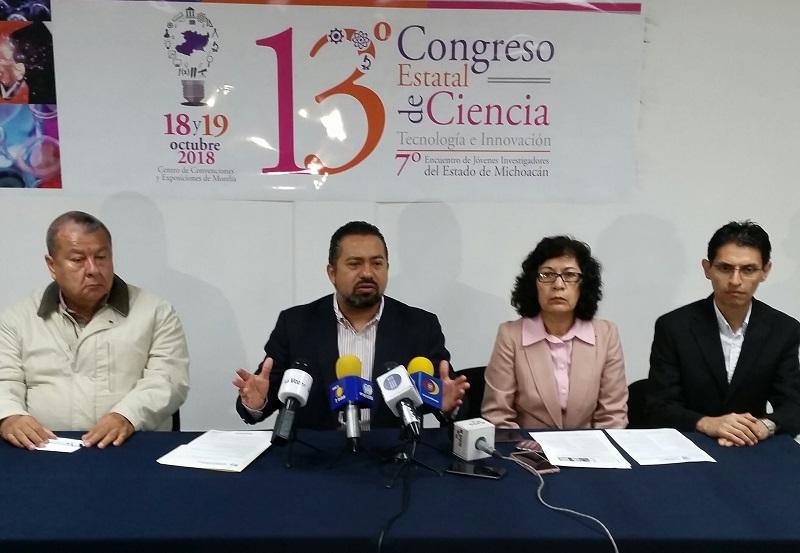 El director general del ICTI, José Luis Montañez, destacó que el Congreso Estatal de Ciencia, Tecnología e Innovación, aloja al Encuentro Estatal de Jóvenes Investigadores y a la entrega de Premios Estatales de Ciencia, a celebrarse los días 18 y 19 de octubre próximos en el Centro de Convenciones y Exposiciones de Morelia