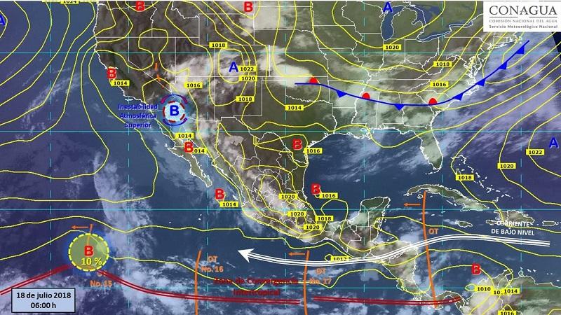 Intervalos de chubascos con tormentas puntuales fuertes (25 a 50 mm): Baja California, Sonora, Jalisco, Michoacán, Guerrero, Oaxaca, Chiapas, Guanajuato, Veracruz y Campeche
