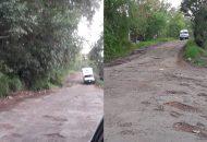 Vecinos pidieron la intervención de la autoridad, tras destacar que si por el momento no se puede colocar nuevo concreto en ese tramo complicado, solicitaron al menos que le den una raspada y le coloquen asfalto el cual permita mermar las afectaciones