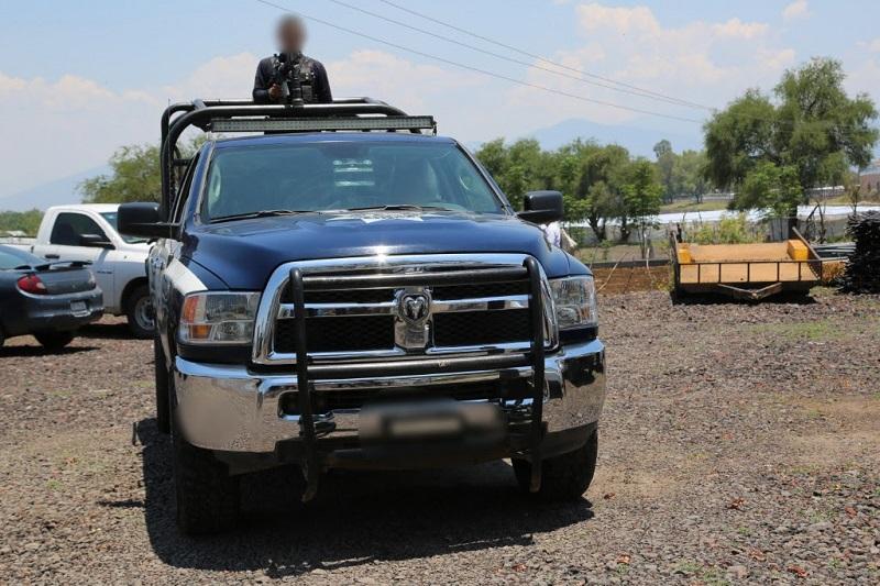 Por instrucción del secretario de la dependencia, Juan Bernardo Corona, elementos de la Policía Michoacán realizan diversas labores de campo encaminadas a garantizar la seguridad de los michoacanos