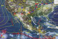 Intervalos de chubascos con tormentas puntuales fuertes (25 a 50 mm): Chihuahua, Durango, Jalisco, Michoacán, Oaxaca, Chiapas, Veracruz y Estado de México