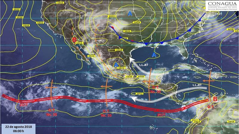 Se esperan tormentas fuertes a puntuales muy fuertes (50 a 75 mm): Sonora, Chihuahua, Sinaloa, Michoacán, Guerrero, Estado de México, Puebla, Tabasco y Campeche