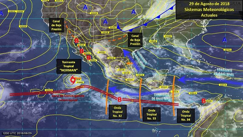 Tormentas fuertes a puntuales muy fuertes (50 a 75 mm): Durango, Zacatecas, Sinaloa, Nayarit, Jalisco, Michoacán, Guerrero, Guanajuato y Campeche