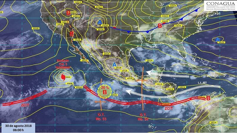 Intervalos de chubascos con tormentas puntuales fuertes (25 a 50 mm): Sonora, Chihuahua, Zacatecas, Colima, Michoacán, Aguascalientes, Estado de México, Ciudad de México, Morelos, Querétaro, Puebla, Tabasco, Yucatán y Quintana Roo