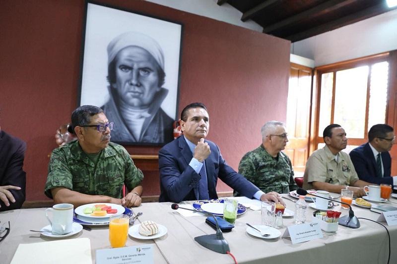 Silvano Aureoles encabeza la reunión de evaluación semanal del Grupo de Coordinación Michoacán