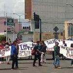 Se trató de unos 500 manifestantes procedentes de Tiripetío, quienes marcharon desde la Calzada La Huerta hacia el Centro Histórico