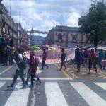 Después de marchar, la CNTE realizó un mitin frente a Palacio de Gobierno, para después retirarse de manera pacífica