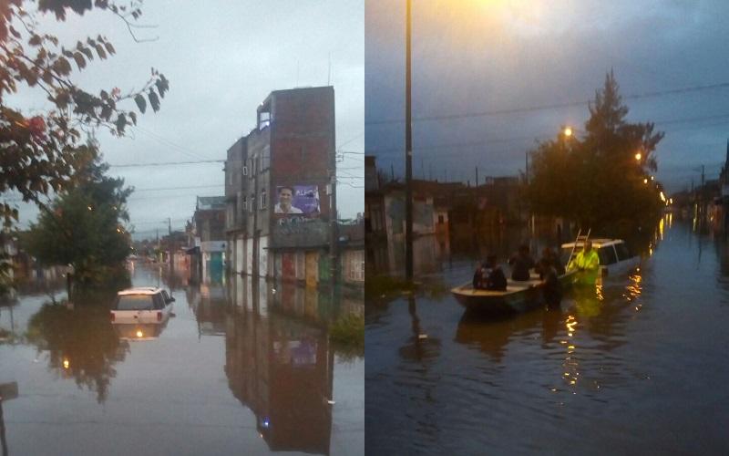 Nuevamente las colonias Primo Tapia Poniente y Carlos Salazar amanecieron inundadas debido a la fuerte lluvia que cayó por la madrugada, por lo que Personal de Bomberos Morelia apoyados con una lancha hicieron un recorrido principalmente por la Avenida Poliducto