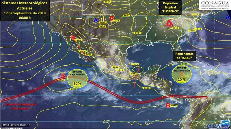 Intervalos de chubascos con tormentas puntuales fuertes se esperan en Baja California Sur, Chihuahua, Coahuila, Zacatecas, Durango, Guanajuato, Aguascalientes, Michoacán, Guerrero, Oaxaca, Chiapas y Veracruz