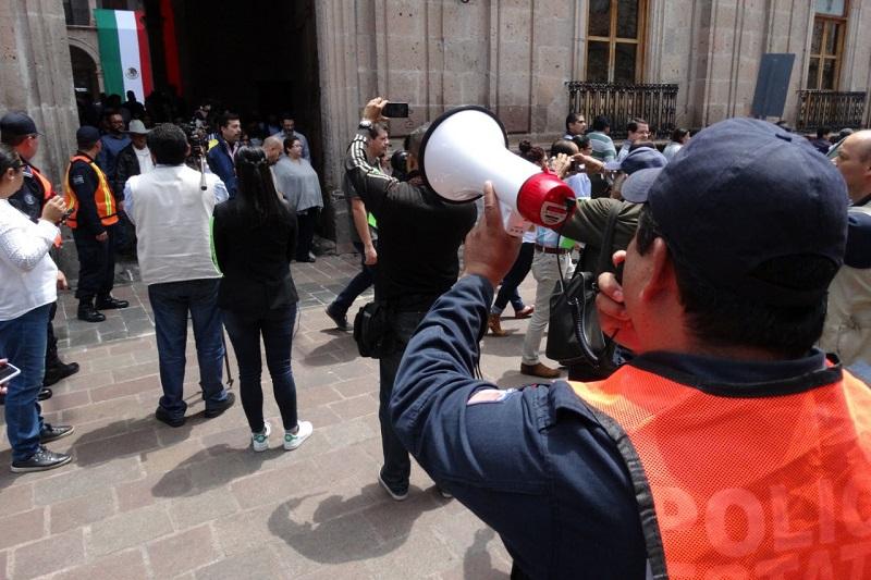 El ejercicio que tuvo lugar en Palacio de Gobierno a las 13:16 horas, se realizó de forma oportuna con el acompañamiento de las autoridades estatales y municipales