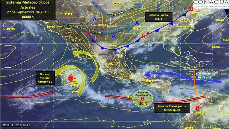 Tormentas fuertes a puntuales muy fuertes se esperan en Coahuila, Sinaloa, Durango, Zacatecas, Hidalgo, Jalisco, Colima, Nayarit, Michoacán, Guerrero, Veracruz y Oaxaca
