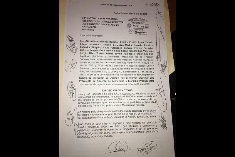 Celebra Alfredo Ramírez la voluntad de otras fracciones políticas para disminuir el gasto del Congreso del Estado