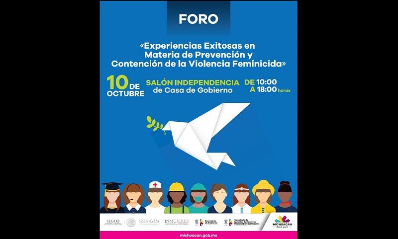 La titular de la Seimujer, Nuria Gabriela Hernández Abarca, explicó que se trata de un foro abierto y gratuito, donde se podrá dialogar y obtener dinámicas de trabajo que permitan prevenir todas las formas de violencia contra las mujeres