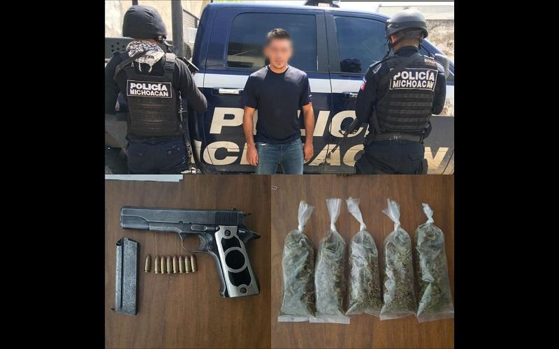 Al realizarle una inspección se le localizó una pistola escuadra marca Star, calibre 9 milímetros con un cargador abastecido con 8 cartuchos del calibre .9 milímetros