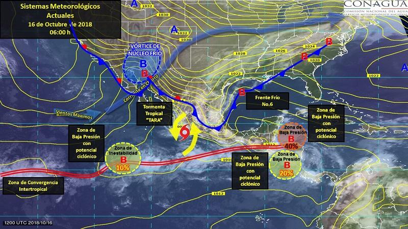 Tormentas fuertes a puntuales muy fuertes se esperan en Tamaulipas, San Luis Potosí, Querétaro, Guanajuato, Puebla, Jalisco, Colima, Michoacán, Oaxaca y Veracruz