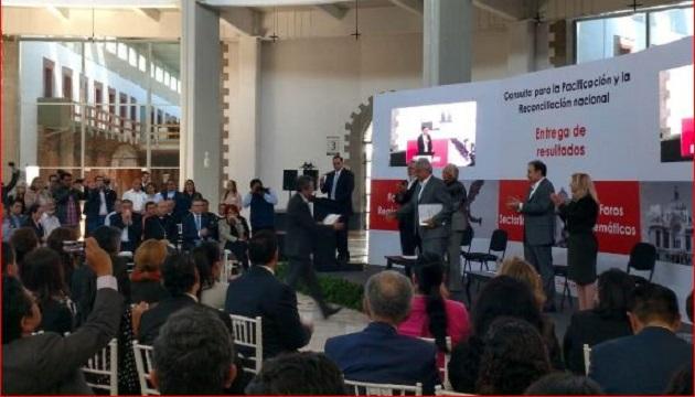 El rector Medardo Serna González pone en mano de los organizadores la carpeta de relatorías