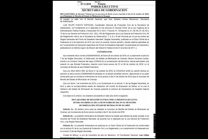 La Secretaría de Gobierno de Michoacán, que dirige Pascual Sigala, confirmó la publicación del documento que da respuesta positiva a la petición que hizo la administración estatal, con el fin de apoyar a la población que sufrió el impacto de la contingencia climática