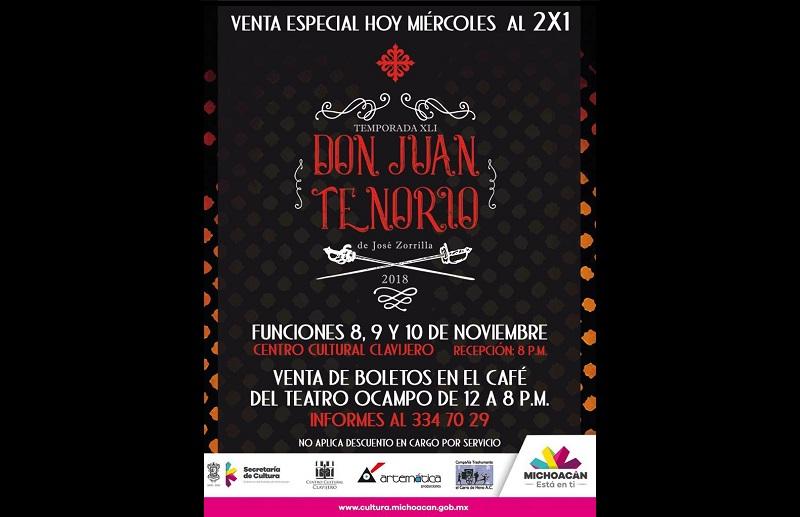 Es importante mencionar que la temporada de este clásico de José Zorrilla se ofrecerá solamente los días 9 y 10 de noviembre con recepción a las 20:00 horas