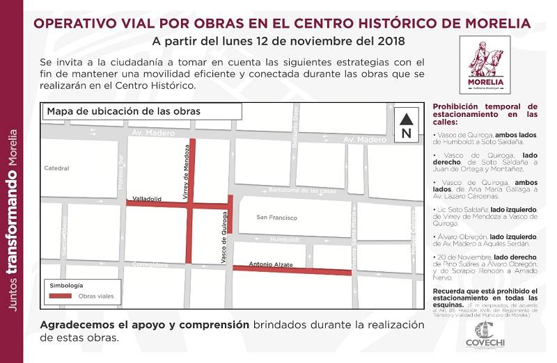 Actualmente existe un operativo de movilidad y sobre la calle Vasco de Quiroga sólo existen acciones de balizamiento
