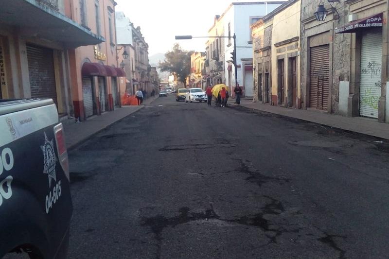 Desfasadas obras del Centro Histórico; calle Vasco de Quiroga y Virrey de Mendoza podrían cerrarse la próxima semana