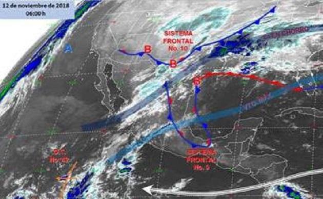 De igual manera es de señalar que la entrada del Frente Frío número 10 provocará un descenso de temperaturas, de acuerdo al Sistema Meteorológico Nacional, mismo que estará presente desde este lunes por la tarde hasta el próximo jueves
