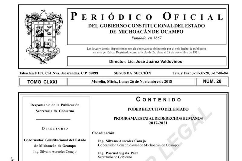 En materia de política pública de derechos humanos y su transversalidad, de acuerdo a la última evaluación por parte del Gobierno Federal, se tiene como resultado un avance de más del 50% en el Estado de Michoacán