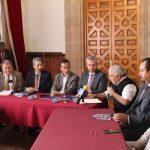 El rector Medardo Serna y los líderes de SPUM y SUEUM, se reúnen con titulares del Poder Legislativo