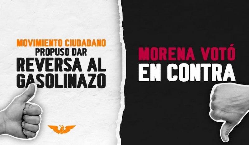 Morena decidió no escuchar el reclamo que los ciudadanos han hecho desde que iniciaron los gasolinazos con el Partido Revolucionario Institucional, acusa el partido naranja