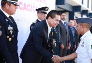 En diálogo con cadetes del Instituto, anuncia la apertura de la Licenciatura en Ciencias de la Seguridad Humana y Policial