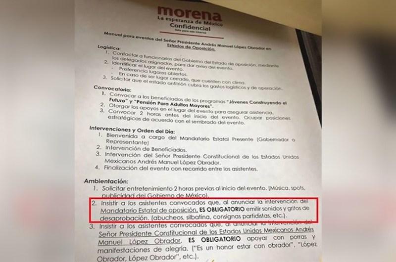 """Otro presunto punto es que, al anunciar la presencia de López Obrador, """"es obligatorio apoyar con porras y manifestaciones de alegría"""" y entre paréntesis se agrega """"es un honor estar con Obrador, López Obrador, Obrador, etc."""""""