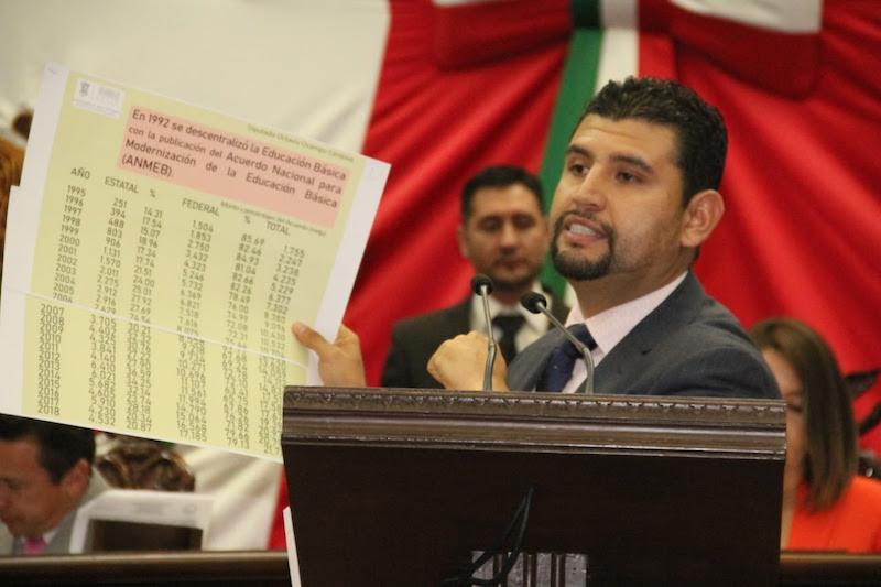 Octavio Ocampo demandó que se reasigne de manera urgente una partida especial presupuestaria, con el objetivo de que se resuelva el déficit en el sector educativo del estado y se federalicen las plazas estatales vigentes