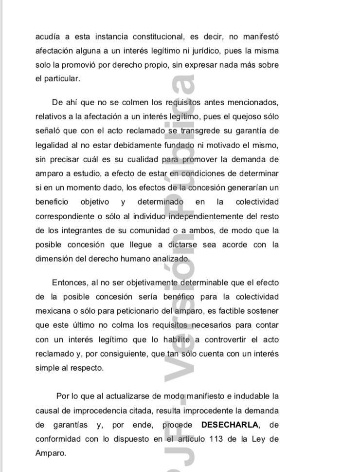 El juez noveno de Distrito con sede en Morelia, Luis Fernando Arreola Villa, determinó desechar la demanda, con el argumento de que el promovente sólo tiene un interés simple en el asunto